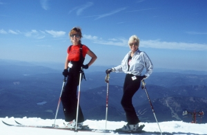 Skiing with my mom on Mt Hood early 1980's, summer skiing.