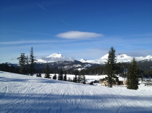 A gorgeous January 30th, 2013, Mt Bachelor Oregon, with views of the Three Sisters.